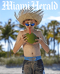 Miami Herald cover of boy drinking out of a coconut